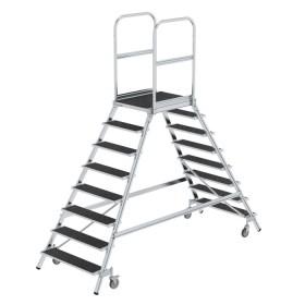 Günzburger Steigtechnik Podesttreppe beidseitig begehbar mit Federrollen Stahl Gitterrost 2x8 Stufen