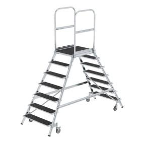 Günzburger Steigtechnik Podesttreppe beidseitig begehbar mit Federrollen Stahl Gitterrost 2x7 Stufen