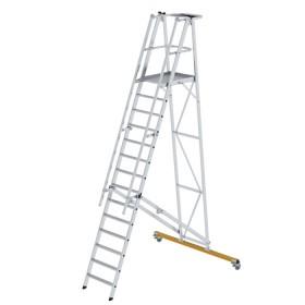 Günzburger Steigtechnik Plattformleiter klappbar und fahrbar 14-Stufig