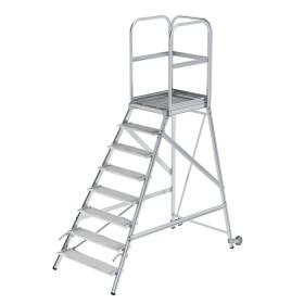 Günzburger Steigtechnik Podesttreppe einseitig begehbar mit Rollen und Griffen Stahl-Gitterrost 8-Stufig