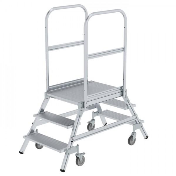 Günzburger Steigtechnik Podesttreppe beidseitig begehbar mit Federrollen Aluminium geriffelt 2x3 Stufen