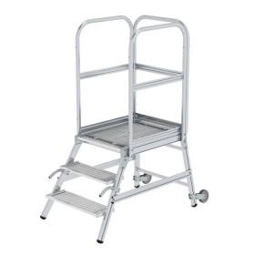 Günzburger Steigtechnik Podesttreppe einseitig begehbar mit Rollen und Griffen Stahl-Gitterrost 3-Stufig