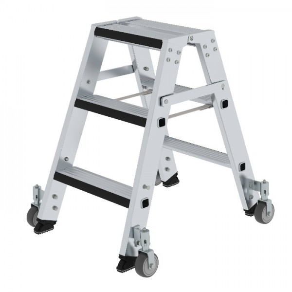 Günzburger Steigtechnik Stufen-Stehleiter beidseitig begehbar mit relax step und Rollen