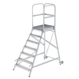 Günzburger Steigtechnik Podesttreppe einseitig begehbar mit Rollen und Griffen Stahl-Gitterrost 7-Stufig