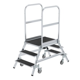 Günzburger Steigtechnik Podesttreppe beidseitig begehbar mit Federrollen Stahl Gitterrost 2x3 Stufen