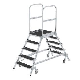 Günzburger Steigtechnik Podesttreppe beidseitig begehbar mit Federrollen Stahl Gitterrost 2x5 Stufen