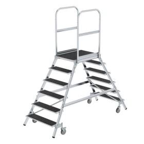 Günzburger Steigtechnik Podesttreppe beidseitig begehbar mit Federrollen Stahl Gitterrost 2x6 Stufen