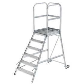 Günzburger Steigtechnik Podesttreppe einseitig begehbar mit Rollen und Griffen Stahl-Gitterrost 6-Stufig