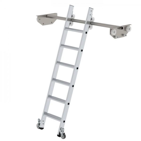 Günzburger Steigtechnik Stufen-Regalleiter fahrbar für Doppelregal