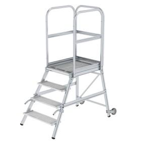 Günzburger Steigtechnik Podesttreppe einseitig begehbar mit Rollen und Griffen Stahl-Gitterrost 4-Stufig